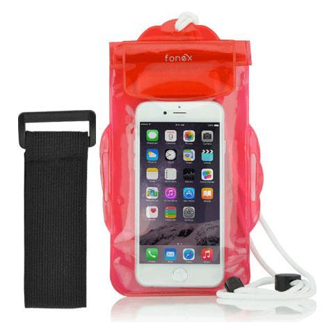 """FONEX Custodia Waterproof per Dispositivi 3""""- 6"""" Colore Rosso Trasparente"""