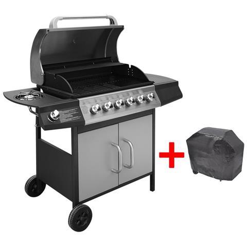 Barbecue E Griglia A Gas 6+1 Fuochi Nero Argento