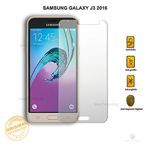 """Smartechnology Pellicola Vetro Temperato Per Samsung Galaxy J3 2016 Sm J320-f 5"""""""" Trasparente Protezione Schermo Salva Touch Screen"""