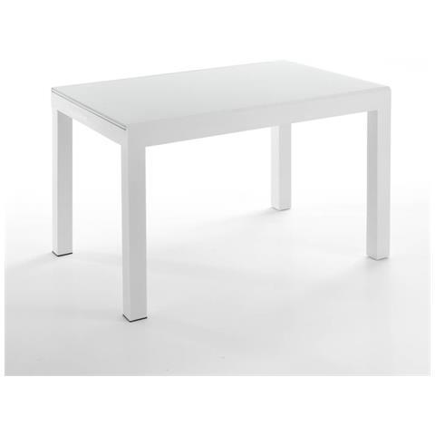 Tavolo In Vetro Temperato.Tomasucci Tavolo Allungabile In Metallo Con Piano In Vetro Temperato Tomasucci Long White