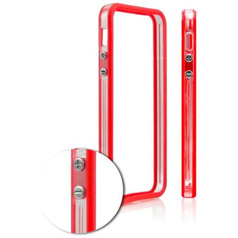 FONEX Defender Bumper Protettivo in TPU e Policarbonato per iPhone 5/5S / SE Colore Trasparente+Rosso