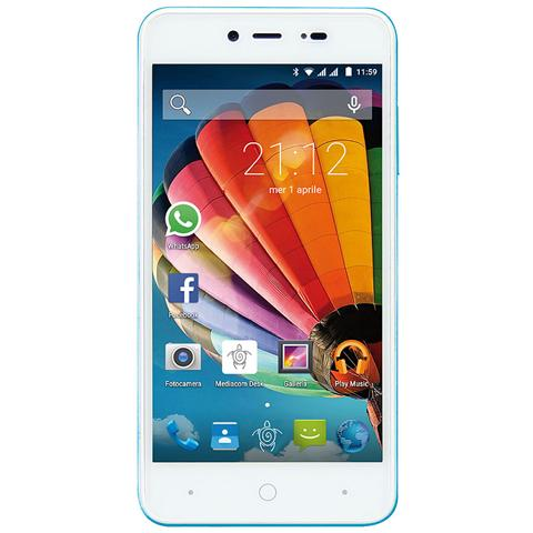 "MEDIACOM PhonePad Duo G515 Blu 8 GB Dual Sim Display 5"" HD Slot Micro SD Fotocamera 5 Mpx Android Italia"