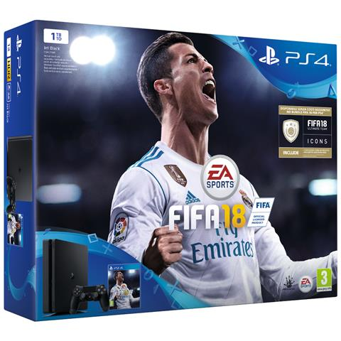 Image of Console Playstation 4 PS4 1 Tb Slim Black + Fifa 18 Limited Bundle