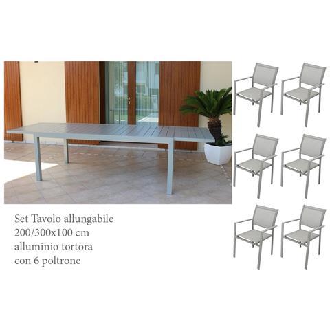 Image of Set Tavolo Giardino Rettangolare Allungabile 200/300 X 100 Con 6 Poltrone In Alluminio Tortora Da Esterno Giardino