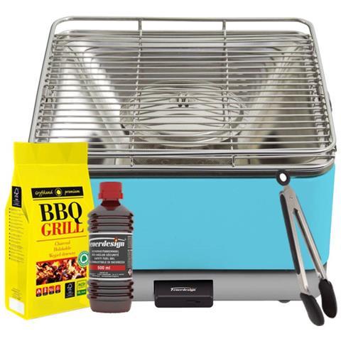 Barbecue Teide Grill Azzurro - Kit Con Gel Accensione + Carbonella 3 Kg + Pinza