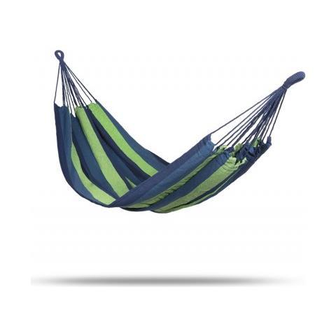 Amaca Da Giardino E Campeggio - Amache In Cotone Di Vari Colori - 2 Moschettoni, Corda In Nylon E Borsa - Per 1 Persona -200 X 100 Cm - Blu E Verde