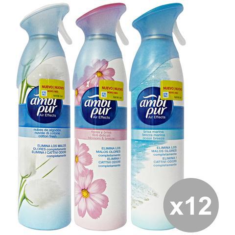 Ambi-Pur Set 12 Spray Air Effects Deodorante Candele E Profumato