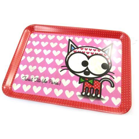 Les Trésors De Lily piccolo vassoio 'chien et chat lolita' amore gatto rosa (24x18 cm) - [ n5481]