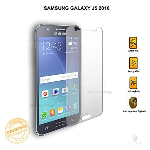 """Smartechnology Pellicola Vetro Temperato Per Samsung Galaxy J5 2016 Sm-j510f 5.2"""""""" Trasparente Protezione Schermo Salva Touch Screen"""