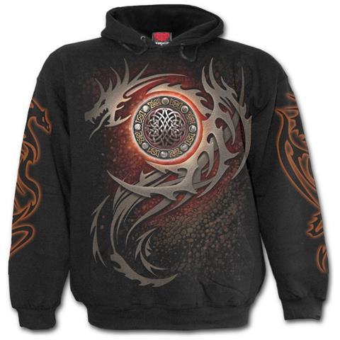 SPIRAL Dragon Eye Black (Felpa Con Cappuccio Unisex Tg. L)