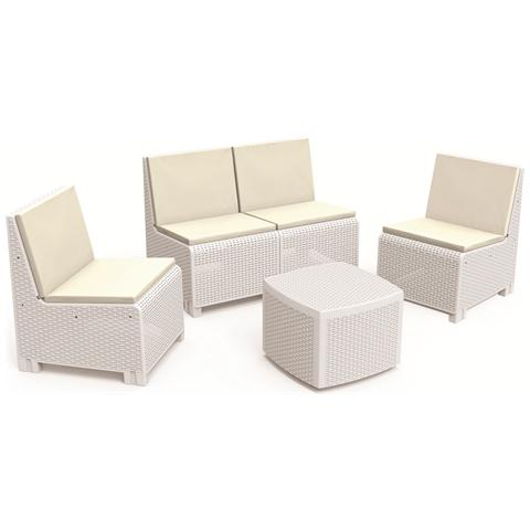 Set da Giardino 1 Divano 2 Poltrone e 1 Tavolino con Cuscino Bianco - Modello Vulcano