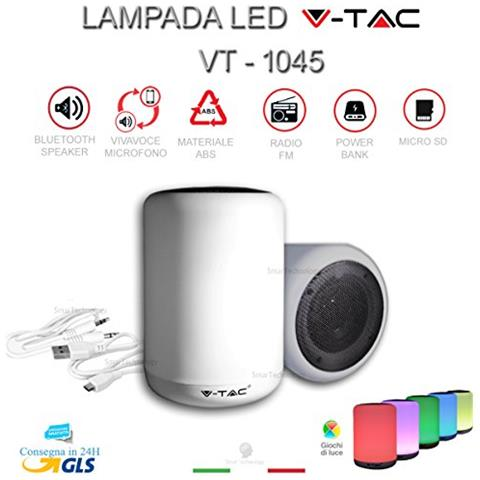V-TAC Lampada Luce Led Multicolore Speaker Altoparlante Bluetooth Radio Fm V-tac Vt-1045 Per Smartphone Mp3 Ipod Iphone