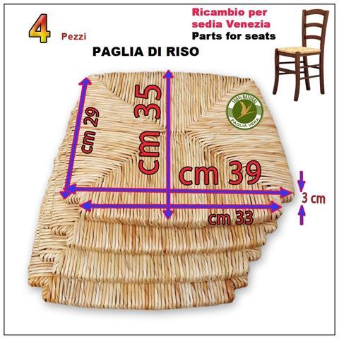 Ricambio Per Seduta In Paglia Di Riso Per Sedia Mod. venezia Set 4 Pezzi