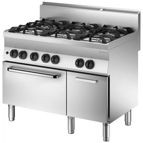 1151163 Cucina Gas Forno elettrico Vano neutro serie65 6 bruciatori