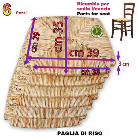 Ricambio Per Seduta In Paglia Di Riso Per Sedia Mod. venezia Set 6 Pezzi
