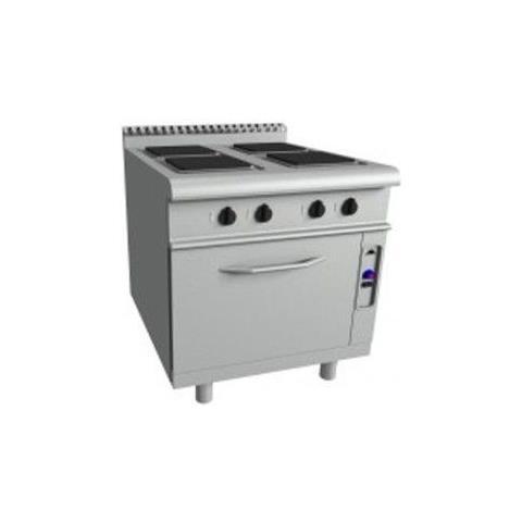 Cucina elettrica 4 piastre su forno statico elettrico GN 2/1 - Dim. cm 80x90x85h