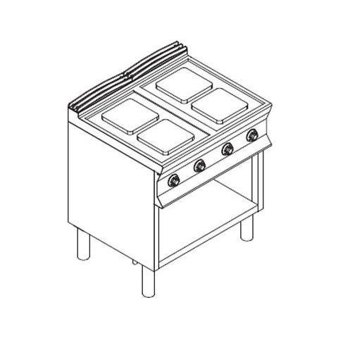 Cucina ELETTRICA 4 piastre su vano a giorno. 80x90x85H - 10.4 Kw