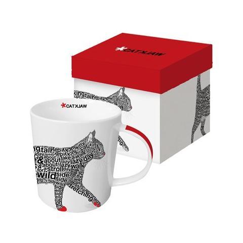 Tazza di porcellana in confezione regalo, con scritta in inglese: Catwolk!, Bianco (white / red / grey / black)
