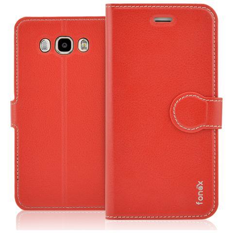 FONEX Identity Book Custodia a Libro per Galaxy J7 (6) Colore Rosso