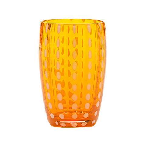 Set 6 Bicchieri Tumbler In Vetro Ø 71 Mm H 109 Mm Capacità 32 Cl Colore Arancio - Collezione Perle