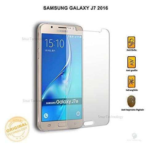 """Smartechnology Pellicola Vetro Temperato Per Samsung Galaxy J7 2016 Sm-j710f 5.5"""""""" Trasparente Protezione Schermo Salva Touch Screen"""