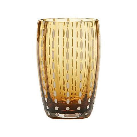 Set 6 Bicchieri Tumbler In Vetro Ø 71 Mm H 109 Mm Capacità 32 Cl Colore Ambra - Collezione Perle