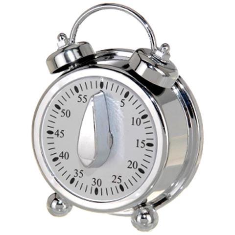 Timer Analogico Orologio Da Cucina Count Up Countdown Lcd Allarme Sonoro Bianco Argento