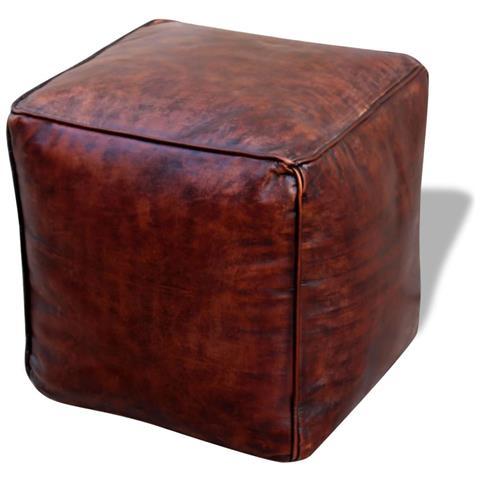 vidaXL Pouf Quadrato In Vera Pelle 45x45x45 Cm