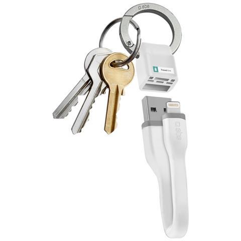 SBS Cavo Alimentazione e Dati USB / Lighting con Portachiavi Colore Bianco