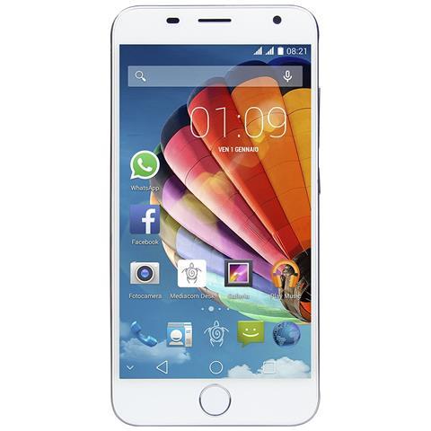 """MEDIACOM PhonePad X532L Lite Argento 16 GB Dual Sim Display 5"""" HD Slot Micro SD Fotocamera 8 Mpx Android Italia"""