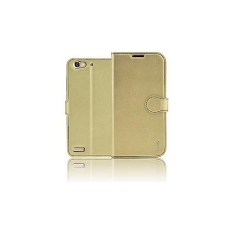 FONEX Identity Book Custodia a Libro per Huawei P8 Lite Smart Colore Oro