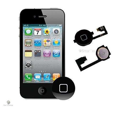 Smartechnology Home Button Per Apple Iphone 4 4g Nero Tasto Accensione Con Flat Flex Ricambio Completo