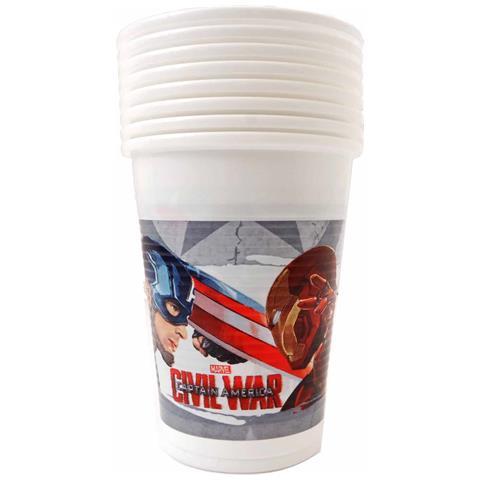 Marvel: Captain America - Civil War - 8 Bicchieri Plastica 200 Ml