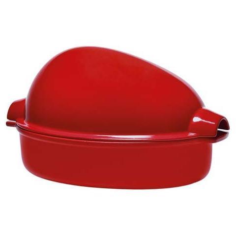 EMILE HENRY Cuoci pollo 35x23x20cm grand cru rosso in ceramica refrattaria