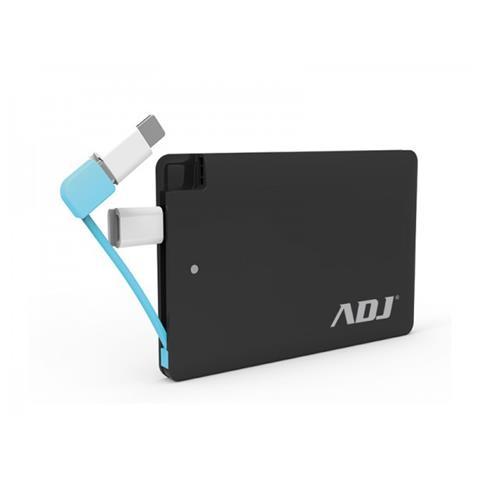 ADJ Blade Power Bank ADJ 3200mAh per ricaricare diversi tipi di periferiche dotate di porta USB con cavo micro USB 5V / 1A e connettore lightning incluso Pro Series Col. Nero