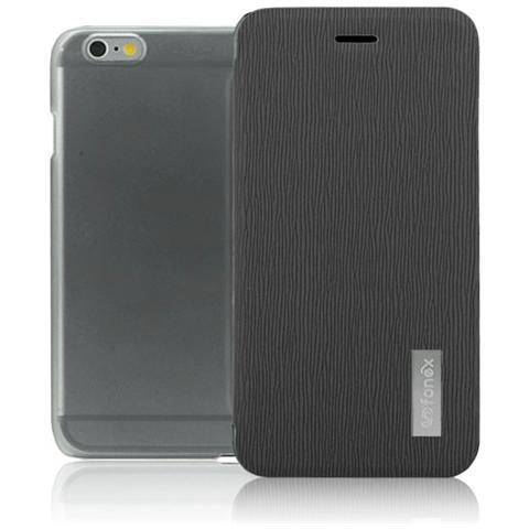 FONEX Crystal Slim Custodia a Libro con Back Trasparente per iPhone 6SPlus Colore Nero