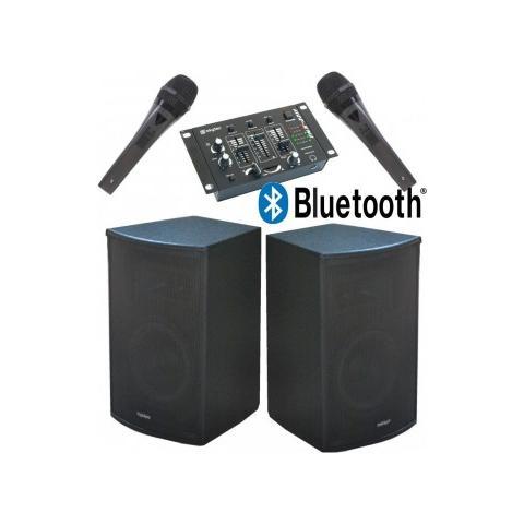 Plug & Sound Sistema Audio Amplificato 900w: 2 Casse 10'' Bluetooth + 1 Mixer + 2 Microfoni + Cavi Art. Setpm100