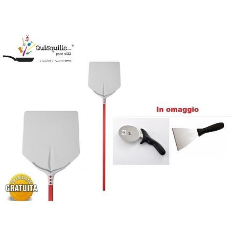 Pala Pizza Quadrata 33x33 Cm Manico 1,5 Mt Alluminio Anodizzato Made In Italy - 33x33