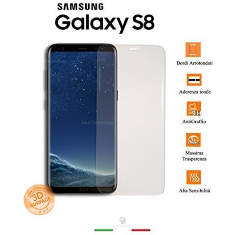 Smartechnology Pellicola Vetro Temperato Trasparente Per Samsung Galaxy S8 Protezione Display E Bordi Arrotondati + Accessori E Kit Applicazione