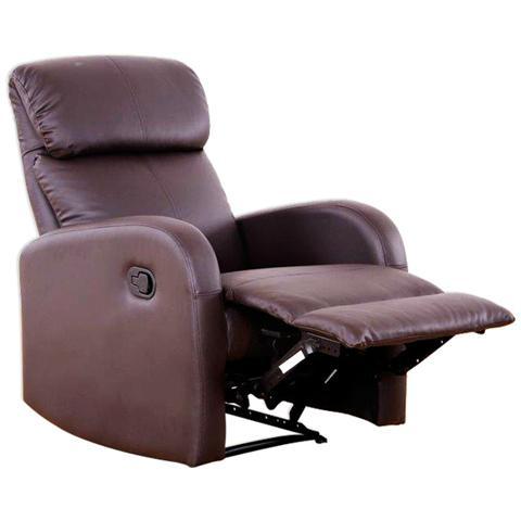 HOMEGARDEN Poltrona relax Camilla Marrone con reclinazione manuale e poggiapiedi