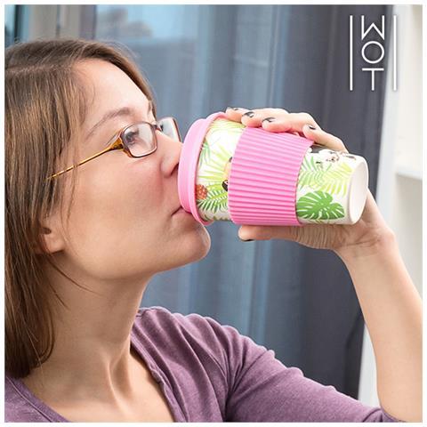 Bicchiere Di Bambù Con Coperchio In Silicone Tropical Wagon Trend