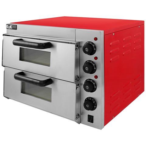 Forno Elettrico Per Pizza A Doppio Ripiano 56cm X 50cm X 44cm