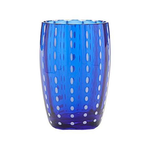 Set 6 Bicchieri Tumbler In Vetro Ø 71 Mm H 109 Mm Capacità 32 Cl Colore Blu - Collezione Perle