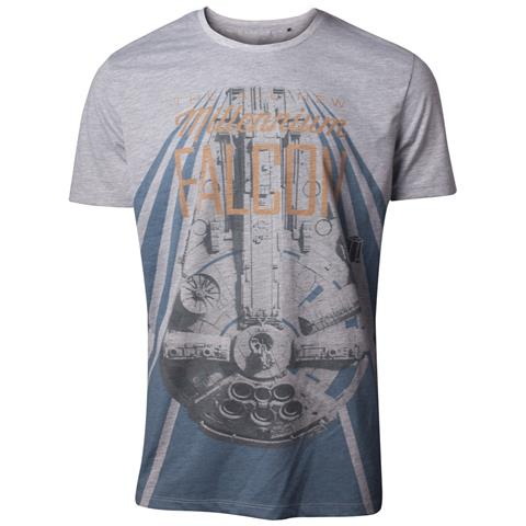 BIOWORLD Star Wars - Han Solo The New Millennium Falcon Grey (T-Shirt Unisex Tg. M)