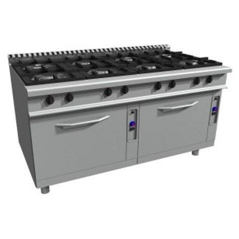 Cucina 8 fuochi a gas su N. 2 forni a gas statici GN 2/1 - Dim. cm 180x90x85h