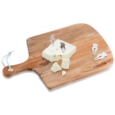 Tagliere Scudo Acacia con 4 Forchette Degustazione Inox