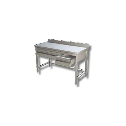 Tavolo 150x70x85 Acciaio Inox 430 Su Gambe Alzatina Cassetti Ristorante Rs4071