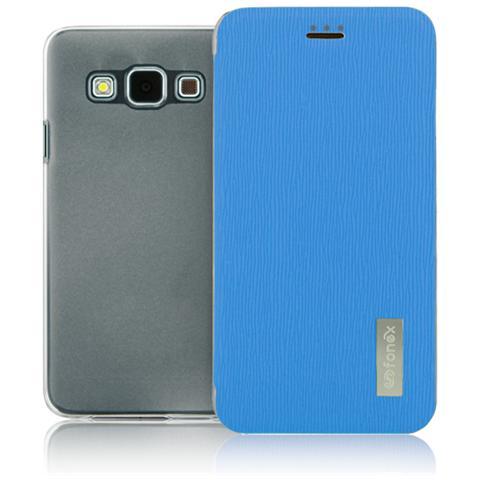 FONEX Crystal Slim Custodia a Libro con Back Trasparente per Galaxy A5 (6) Colore Azzurro