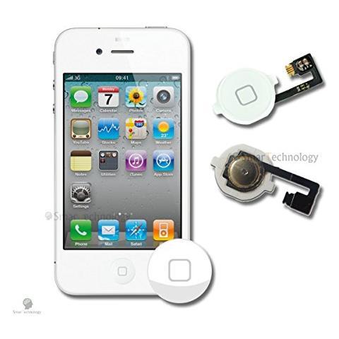 Smartechnology Home Button Per Apple Iphone 4 4g Bianco Tasto Accensione Con Flat Flex Ricambio Completo