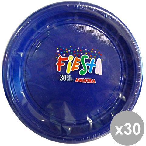 GNP Set 30 Piatti Colorato Piani 30 Pezzi Blu Art. 165200 Piatti